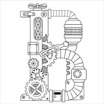 Illustratrion of steampunk coloring book for adults