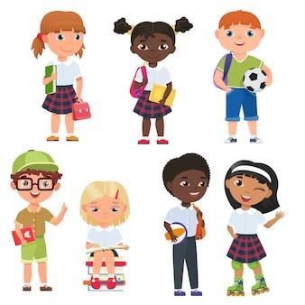 かわいい生徒の男の子と女の子。学校の子供たちはベクトルillustratrion。