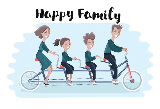 Illustretion of happy family riding a tandem bicycle