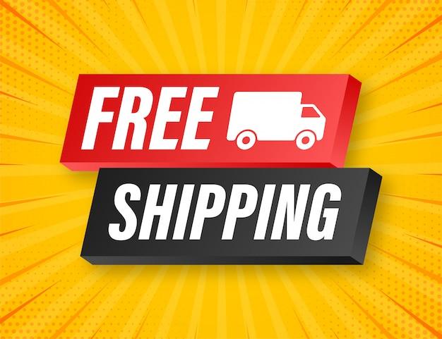 Бесплатная доставка. значок с грузовиком. illustrtaion.