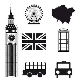 白い背景ベクトルillutration上のロンドンの要素