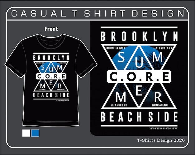夏のブルックリンビーチ側、印刷用ベクトルタイポグラフィデザインillutration