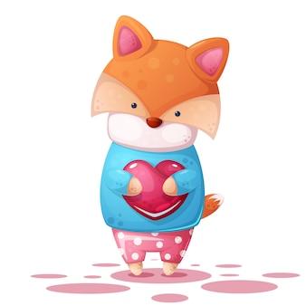 かわいいキツネと心臓illutration。