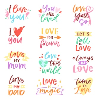 白い背景に分離された家族愛の装飾タイポグラフィのバレンタインデー最愛のカードイラストセットにママパパ友人iloveyouに愛情の素敵な書道愛すべき友情記号
