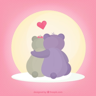 Ilustrated teddy bears in love