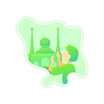 Иллюстрация дети молятся в шаблоне логотипа джунглей