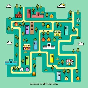 クラウドによるシティシティーマップのilustration