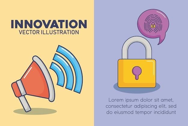 技術とイノベーションデザインのアイコンベクトルのilustration