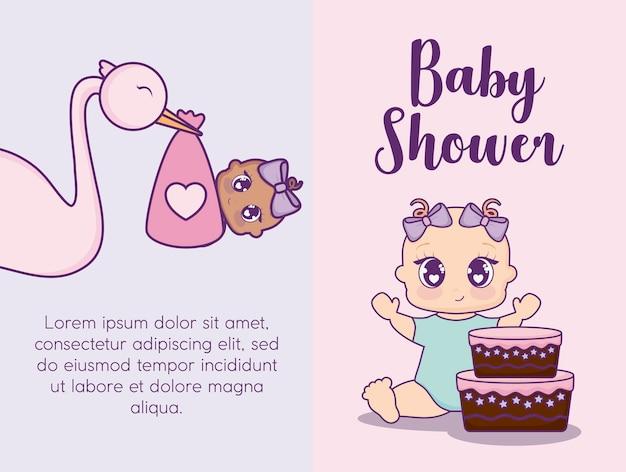 ベビーシャワーのデザインベクトルilustrationアイコン赤ちゃんの女の子