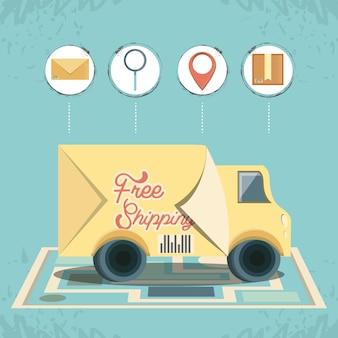 トラックアイコンベクトルilustrationと無料の配送サービス
