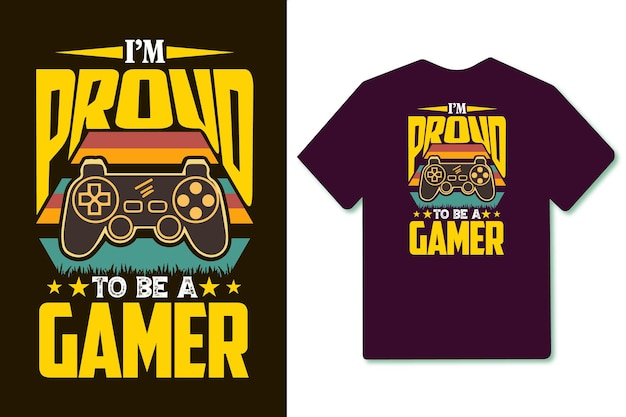 Im proud to be a gamer typography retro vintage t shirt design with joystick