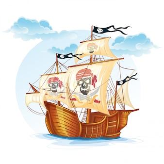 Изображение корабля-каравеллы пиратов. xv век
