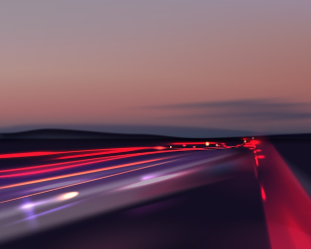 Image of colorful light trails with motion blur effect long time exposure