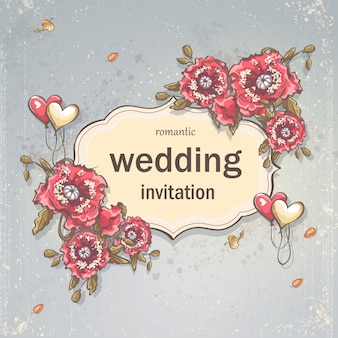 Image festive wedding background for your text with poppies and balloons in form of hearts