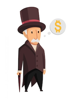 Image of a funny old man capitalist in a black suit and hat standing with a cane in his hands on a white background. business, finance, monopoly, money