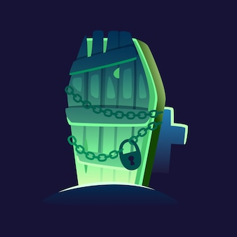 Image of glowing coffin rising from the ground at graveyard. vector image