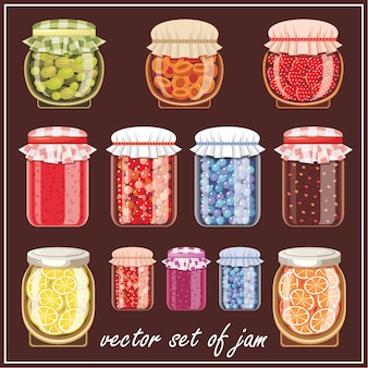 Image jars of different shapes and jam.