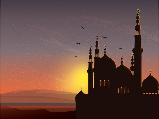 Image of mosque city landscape in ramadan