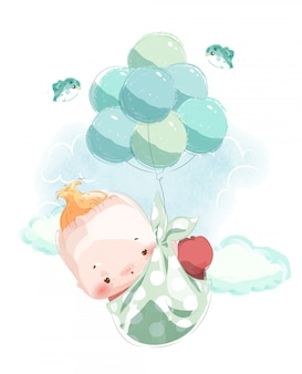 An image of a newborn baby for assembling a cute baby shower card floating in the sky with a balloon.