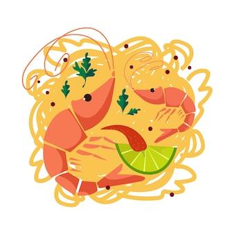 Image of noodles with shrimps. mediterranean food. vector illustration.