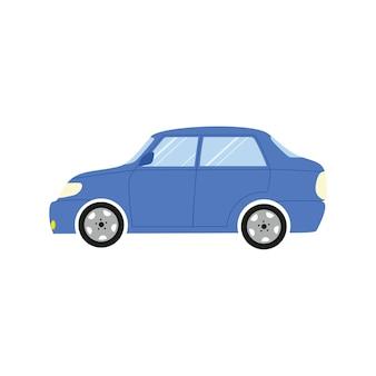 흰색 배경에 고립 된 파란색 자동차의 이미지. 운송 및 장비, 자동차 서비스 로고, 작업장, 세차. 벡터 평면 만화 일러스트 레이 션. 배너 디자인, 명함, 광고.