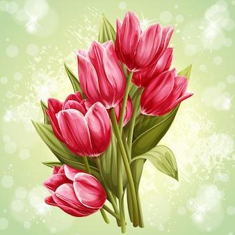 ピンクのチューリップの花の花束の画像