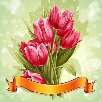 핑크 튤립 꽃 꽃다발의 이미지