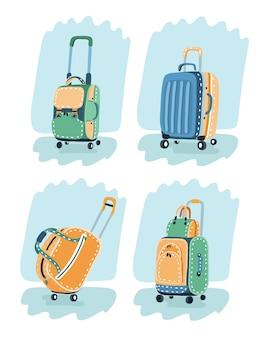 異なる色の赤いスーツケース、バッグ、ハイキングのバックパックの画像。