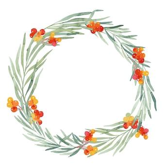 松の枝で作られた丸いクリスマスリースの画像