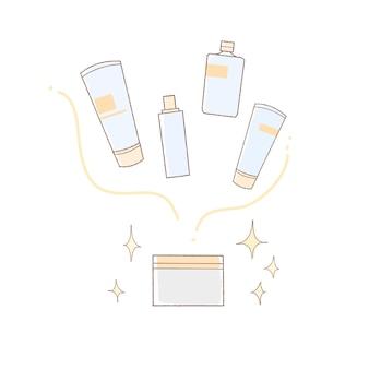 올인원 화장품 이미지. 심플한 아트 스타일.