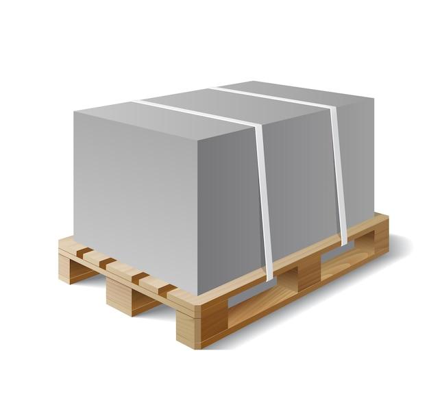 Изображение груза на деревянном поддоне. символ транспортной отгрузки. векторная иллюстрация