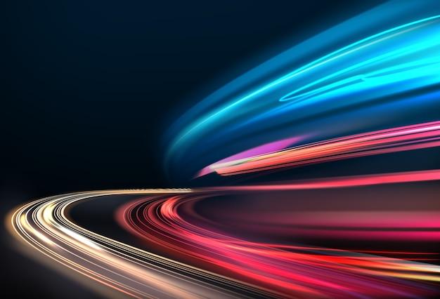 Изображение красочных световых следов с эффектом размытия движения, длительной выдержкой. изолированные на фоне