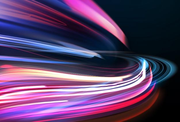 モーションブラー効果のあるカラフルなライトトレイルの画像