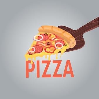 창의적인 피자의 이미지. 레스토랑 비즈니스를위한 광고용 피자 한 조각. 만화 그림 페퍼로니.