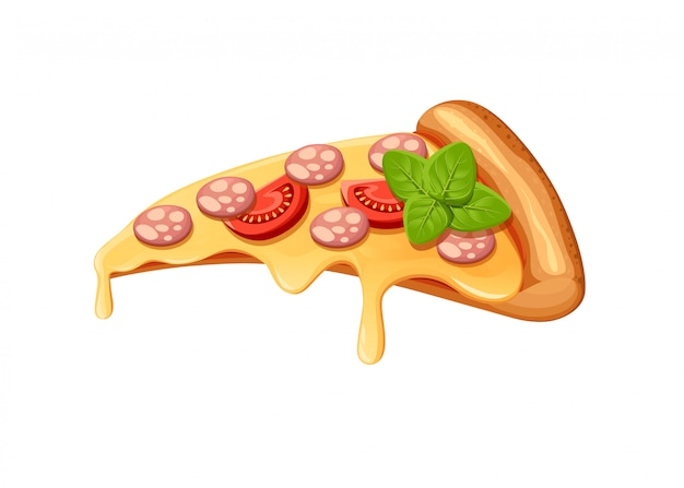 創造的なピザの肉の画像。アイコンイタリアのピザ。レストランビジネスの宣伝用のピザのスライス。