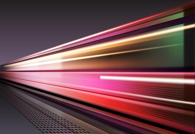장시간 노출로 차량이 움직일 때 빛의 이미지. 배경에 고립