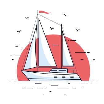 Изображение роскошной парусной яхты, плывущей по волнам моря