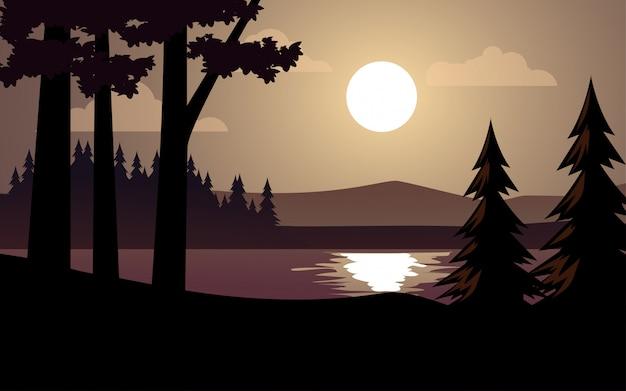 호수와 보름달 밤 숲의 이미지