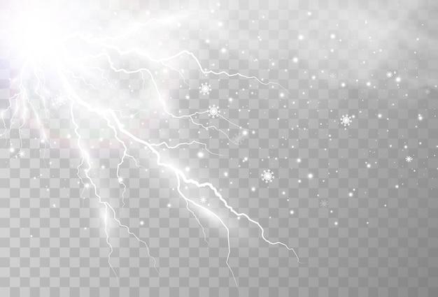 リアルな稲妻の画像透明な雷の閃光