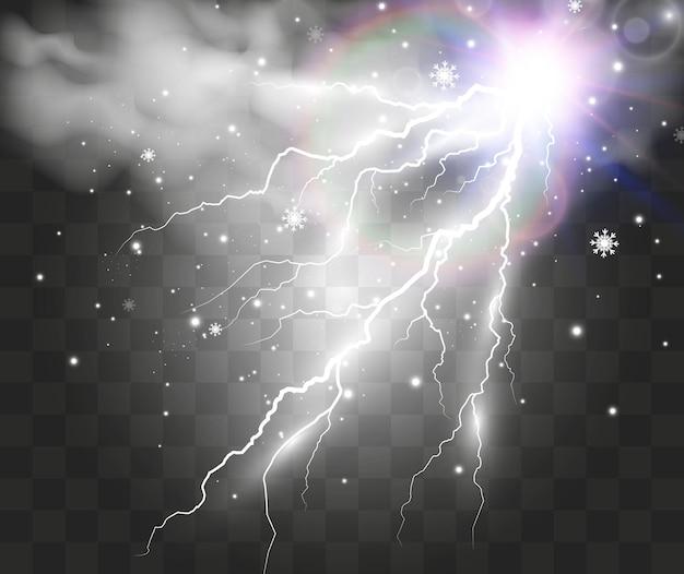 Изображение реалистичной молнии вспышка грома на прозрачном