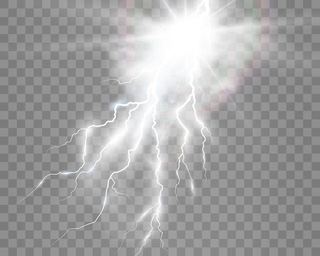 Изображение реалистичной молнии вспышка грома