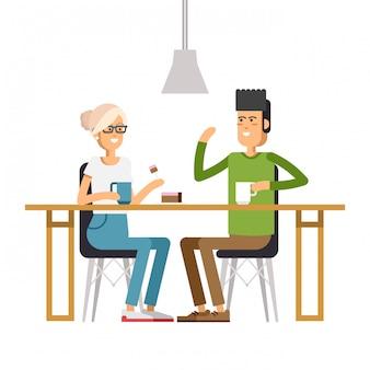 Изображение двух девушек в кафе
