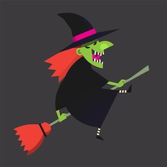 Изображение ведьмы летит на метле и смеется хэллоуин векторные иллюстрации
