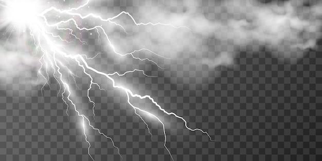 Image of realistic lightning flash of thunder