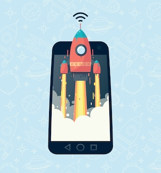 The image of the rocket in the phone. fast mobile communication