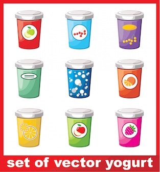 Image of a set of different yogurt