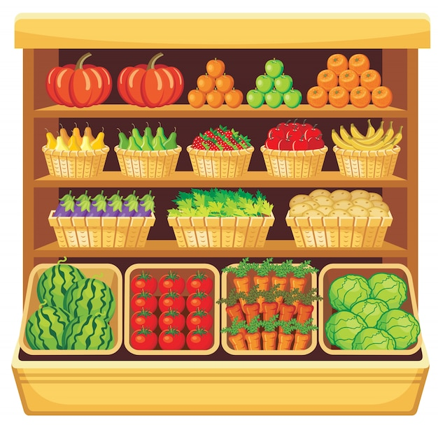 Image of shelves in a supermarket with fruits and vegetables.