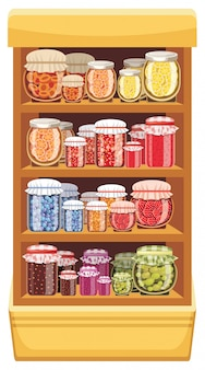 Image store shelves with a different jam.