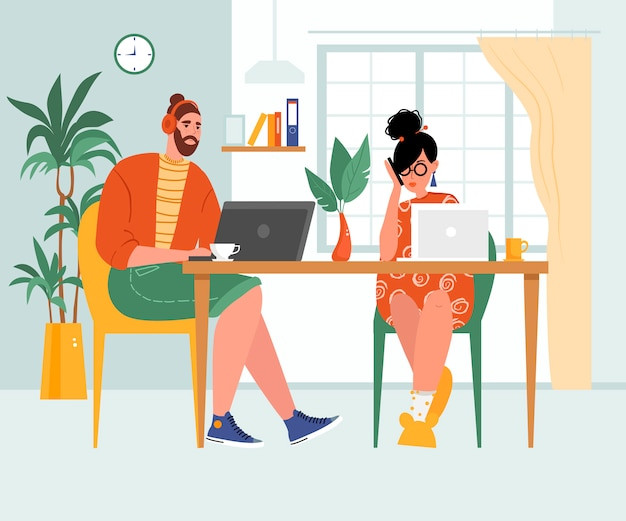 Image on the topic of work at home, concept. young woman and man working on laptops online.