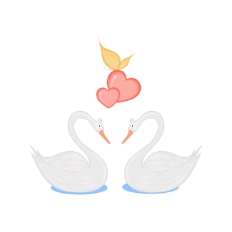 Image of two loving swans with hearts